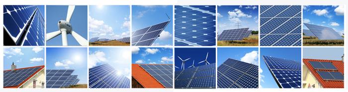 Collage aus Fotos von Windrädern und Photovoltaikanlagen